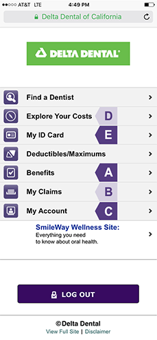 Example of Online Services Mobile View