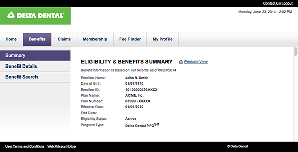 Example of main eligibility screen