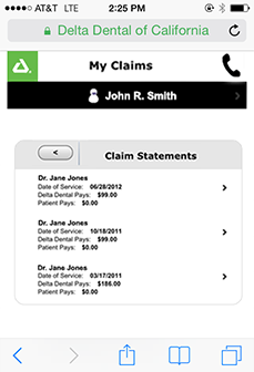 Example of claim detail - view