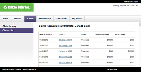 Example of claim detail