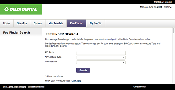 Example of Fee Finder results screen