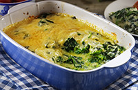 Gratinado de espinaca y queso pamesano